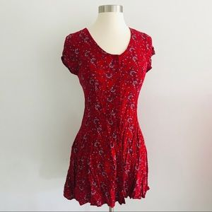 Band of Gypsies Red Floral Dress Corset Back XS